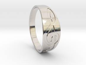 Size 8 M G-Clef Ring Engraved in Rhodium Plated Brass