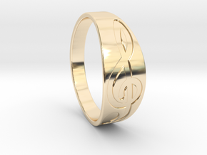 Size 9 M G-Clef Ring Engraved in 14k Gold Plated Brass