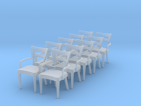 1:48 Dog Bone Chair with Arms (Set of 10) in Smooth Fine Detail Plastic