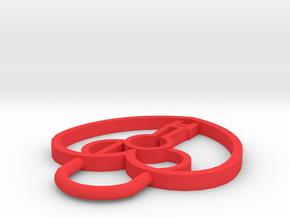 CHD Heart Lock Pendant in Red Processed Versatile Plastic