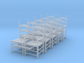 1:48 Pilgrim's Chairs (Set of 10) in Smooth Fine Detail Plastic