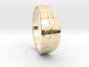 Size 7 M G-Clef Ring  in 14k Gold Plated Brass