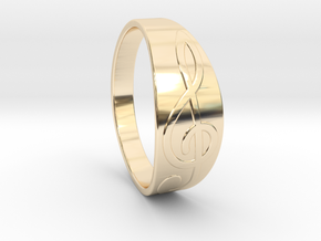 Size 8 M G-Clef Ring  in 14k Gold Plated Brass