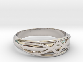 Size 7 L Ring  in Rhodium Plated Brass