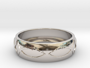 Size 9 Ring  in Rhodium Plated Brass