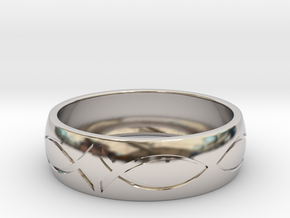 Size 9 Ring enraved in Rhodium Plated Brass