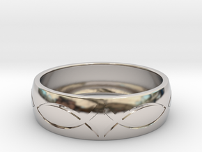 Size 8 Ring engraved in Rhodium Plated Brass