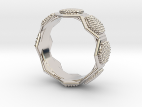 Seeds of life ring in Rhodium Plated Brass