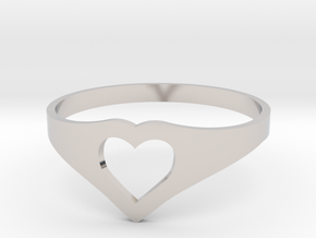 Negative Space Heart Ring (Sz 6) in Platinum