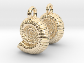 Ammonite Earings (pair) in 14k Gold Plated Brass