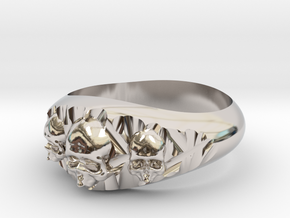 Cutaway Ring With Skulls Sz 10 in Rhodium Plated Brass