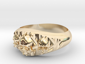 Cutaway Ring With Skulls Sz 12 in 14k Gold Plated Brass
