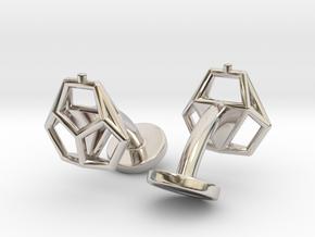 Asp mkII Wireframe Cufflinks in Rhodium Plated Brass