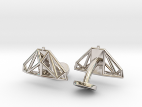 Cobra mkIII Wireframe Cufflinks in Rhodium Plated Brass