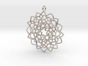 Mandala Flower Necklace in Platinum