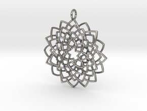 Mandala Flower Necklace in Natural Silver