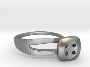 Button Ring Modern in Natural Silver