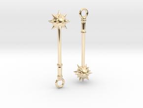 Spiked Mace Earrings in 14k Gold Plated Brass