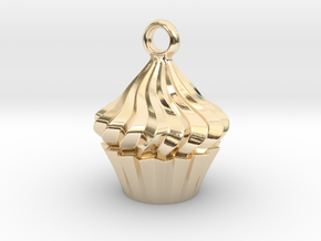 Cupcake Pendant in 14k Gold Plated Brass