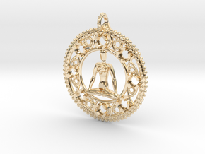 Centered In Meditation Pendant in 14K Yellow Gold