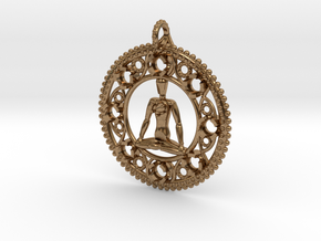 Centered In Meditation Pendant in Natural Brass