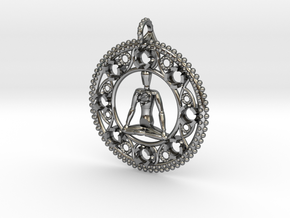Centered In Meditation Pendant in Polished Silver