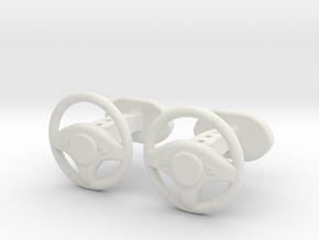 Steering wheel cufflinks in White Natural Versatile Plastic