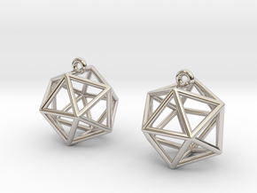 Icosahedron Earrings in Rhodium Plated Brass