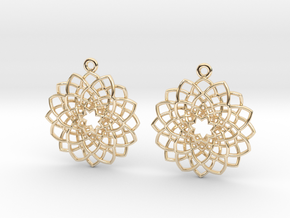 Mandala Flower Earrings in 14k Gold Plated Brass