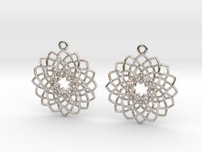 Mandala Flower Earrings in Platinum