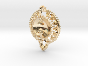 Self Reflection Pendant in 14k Gold Plated Brass