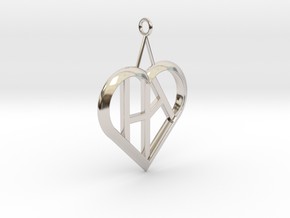 Heart of love pendant [customizable] in Rhodium Plated Brass