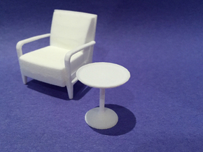 20in Dia Side Table 1:24 scale in White Natural Versatile Plastic