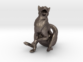 Silly Wolf in Polished Bronzed Silver Steel