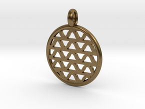 DRAW pendant - waves A in Raw Bronze