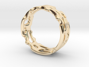 Geo Ring With Holes - US Size 6 to 6.5 in 14k Gold Plated Brass
