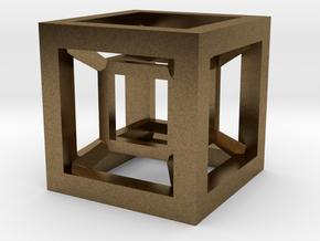 4D Hypercube in Natural Bronze