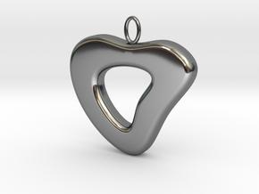 Ciondolo Heart in Fine Detail Polished Silver