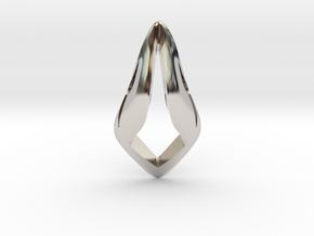 Floating Free Z, Pendant. Smooth Shaped for Perfec in Rhodium Plated Brass
