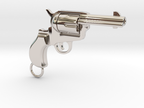 Gun pendant Colt in Rhodium Plated Brass