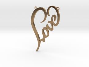 Love In Heart Pendant in Natural Brass