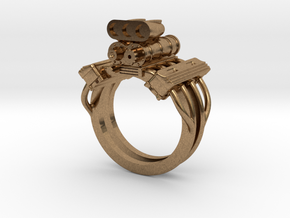 V8 ENGINE RING in Natural Brass: 12 / 66.5