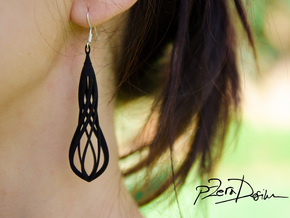 Handmade Teardrop Earrings / 3D Printed Earrings  in White Natural Versatile Plastic