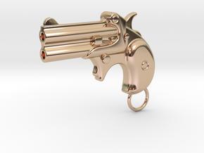 Derringer Gun in 14k Rose Gold Plated Brass