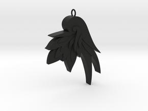 Unique Flower Pendant in Black Natural Versatile Plastic
