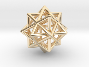 Compound of Three Octahedra in 14k Gold Plated Brass