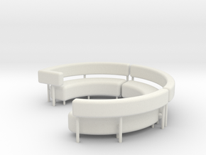 1:48 Circular Couch/Sofa Sectional in Parts in White Natural Versatile Plastic