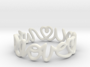 """""""We Love you"""" Ring in White Natural Versatile Plastic"""