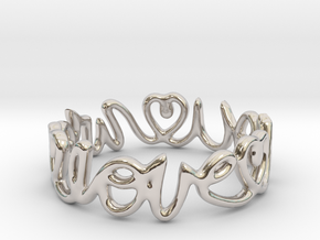 """""""We Love you"""" Ring in Rhodium Plated Brass"""