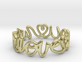 """""""We Love you"""" Ring in 18k Gold Plated Brass"""